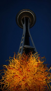 View of Seattles Space Needle from Chihuly Gardens