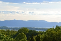 View of the Adirondack Mountains from Overlook Park in South Burlington Vermont