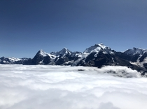 View of the Eiger Monch and Jungfrau from Birg at  meters - Swiss Alps