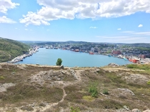 View of the entirety of downtown St Johns taken from signal hill trails