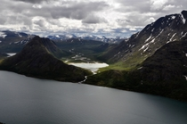 View of the Gjende Lake in Jotunheimen National Park Norway