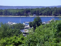 View of the Marina at Harbor Springs Michigan from the bluff above town