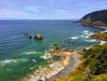 View of the ocean from a mountain in Ecola National Park in Oregon