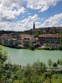 View of the Old City of Bern Switzerland from the Bern Bear Park OC