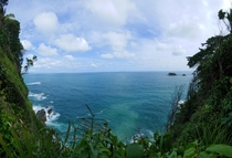 View of the Pacific Ocean from the jungle of Manuel Antonio National Park Costa Rica