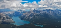 View of the Rockies from Cascade Mountain in Banff