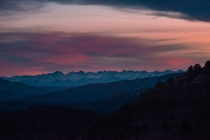 View of the Sangre de Cristo mountain range at sunset from Shelf Road Colorado  Instagram jkrauthphotography