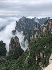 View of the Sea of Clouds at Huangshan Mountain China