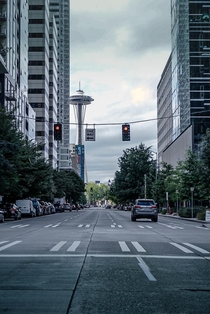 View of the space needle from downtown Seattle