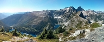 View of the three Thornton Lakes from Trapper Peak in North Cascades National Park  hours from Seattle WA