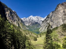 View of the Watzmann from halfway up a waterfall Berchtesgaden National Park Bavaria Germany