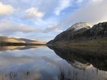 View of Tryfan from the edge of Llyn Idwal North Wales