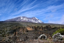 View of Uhuru Peak Kilimanjaro from Shira Cave Camp