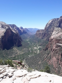 View off of Angels Landing in Zion National Park Utah OC