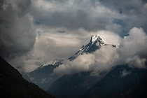 View on Machhapuchhare from Chomrong Nepal Himalaya