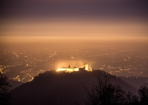 View on Zagreb Croatia from Sljeme Mountain over Fort of Medvedgrad