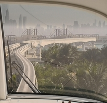 View out of the monorail in Dubai