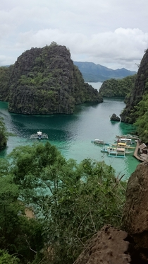View overlooking a lagoon while trekking towards Kayangan Lake Coron Palawan Phils  photo taken by me