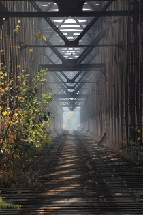 View through the old and disused railway bridge Belgrade Serbia