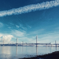 View to the three including the new almost-finished Forth bridges Scotland