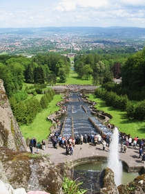 View towards Kassel seen atop the cascades of Bergpark Wilhelmshhe a landscape park designated as a UNESCO World Heritage Site Hesse Germany