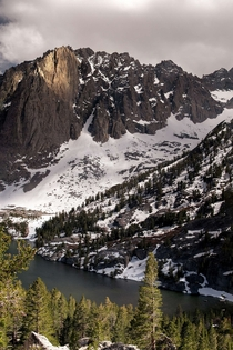 Views from a beautiful Alpine Lake in the Eastern Sierras California Looking up at Temple Crag part of the imposing Mt Gayley which rises up at ft  shotsbyliam_