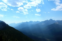 Views from the top of Sulphur Mountain Alberta Canada