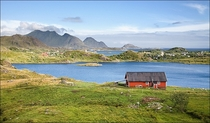 Village architecture near Ballstad Lofoten Norway