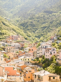 Village in mountain valley Vernazza Italy