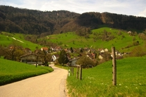 Village of Brschwil Switzerland nestled in the green hills of the Jura Mountains