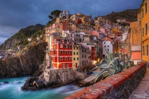 Village of Riomaggiore located in the National Park of the Cinque Terre Italy