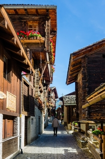 Village street in Grimentz Switzerland