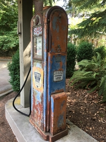 Vintage gasoline pump city park and museum Kirkland WA