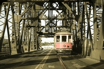 Vintage Trolley on Steel Bridge Portland OR