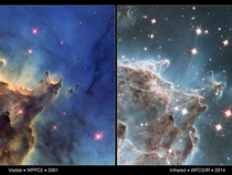Visible and Infrared Comparison of NGC