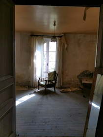 Visited an Abandoned house in Brittany France this chair inspired me The house was abandoned due to water damage the water would flood the ground level as you can see on the walls hope youll like it Found fun stuff upstairs