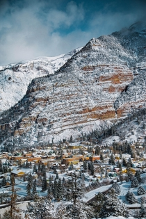 Visited Colorado for the first time and loved how the entire town of Ouray is tucked in this valley of mountains and snow