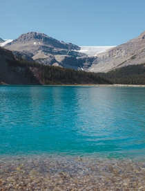 Vivid blue very clear very cold lake Alberta Canada