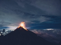 Volcanic eruptions above the clouds and below the stars in Guatemala  by IG danielbenjaminphoto