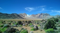 Volcanic landscape north of Putre in northern Chile