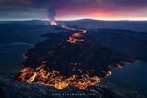 Volcanic Sunset - aerial shot of a new lava flow in Holuhraun Iceland  by Erez Marom x-post rIsland