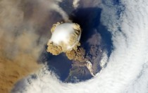 Volcano eruption as seen from space