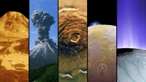 Volcanoes on Five Worlds - Venus Maat Mons Earths Karymsky Mars Olympus Mons Io and Enceladus