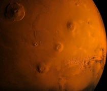 Volcanoes on Mars including the largest volcano in the Solar System Olympus Mons