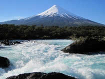 Volcn Osorno Chile as seen from Petrohu Falls