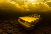 Volvo under water in lake Saimaa Finland
