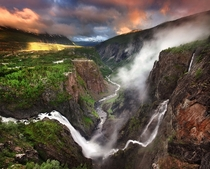 Voringfossen Waterfall of Mbdalen Norway
