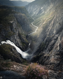 Voringsfossen crashing down from Hardangervidda plateau Norway