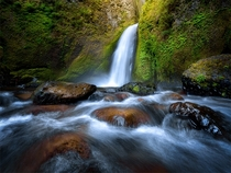 Wahclella Falls one of many beautiful waterfalls located in the Columbia River Gorge in Oregon