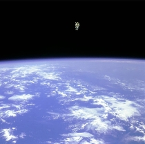 Wait Where is Bruce  The white dot on the pic is Bruce McCandless becoming the first satellite man in  How would you feel if you were him  The ultimate space experience  Picture by NASA